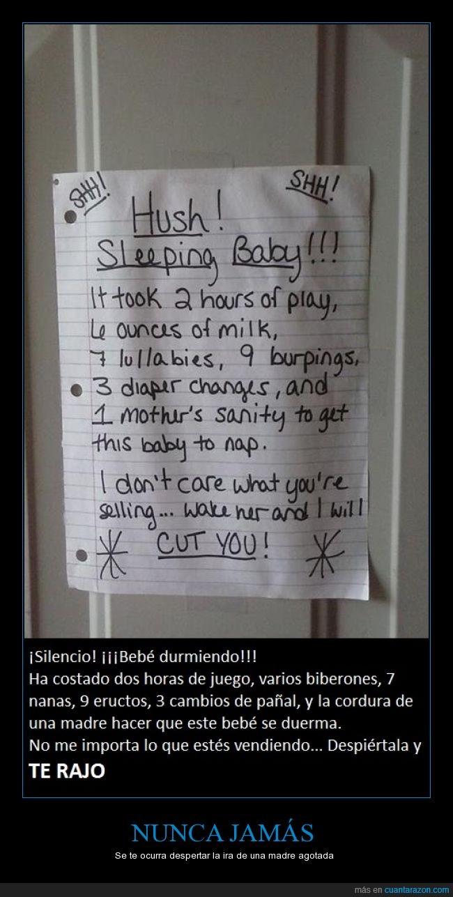 amenaza,aviso,bebe,despertar,dormir,madre,nota