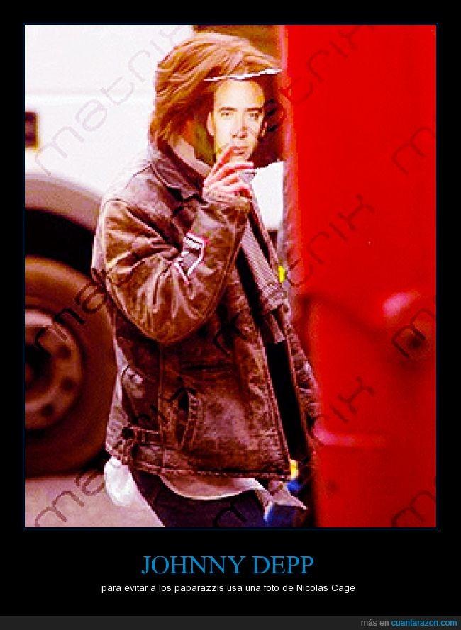cara,disimular,Johnny Depp,Nicolas cage,paparazzi,tapar