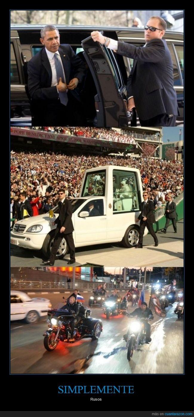 coche,el Papa,limusina blindada,motos,Obama,Putin,seguridad,seguro