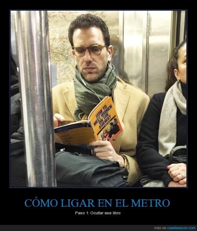 chicas,conocer,estrategia,leer,libro,ligar abordar,metro