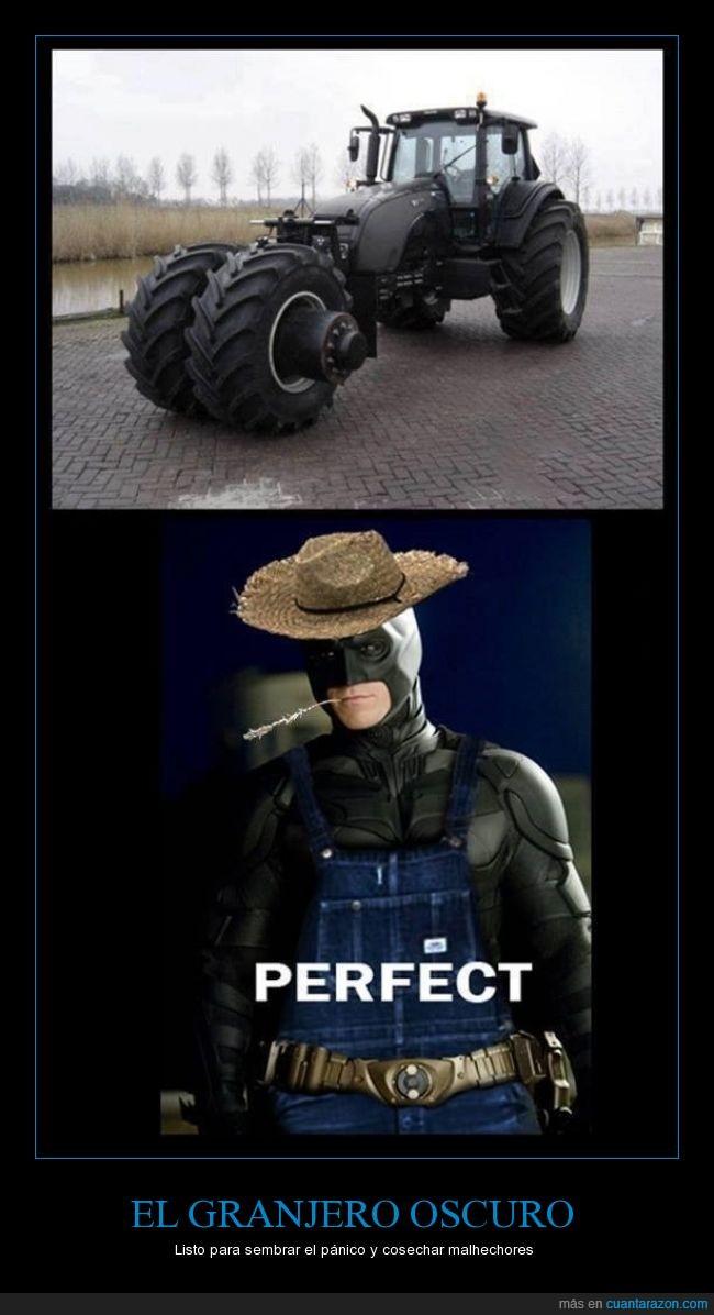 agricultor,agricultura,Batman,batmovil,battractor,granjero,oscuro,plantar,tractor