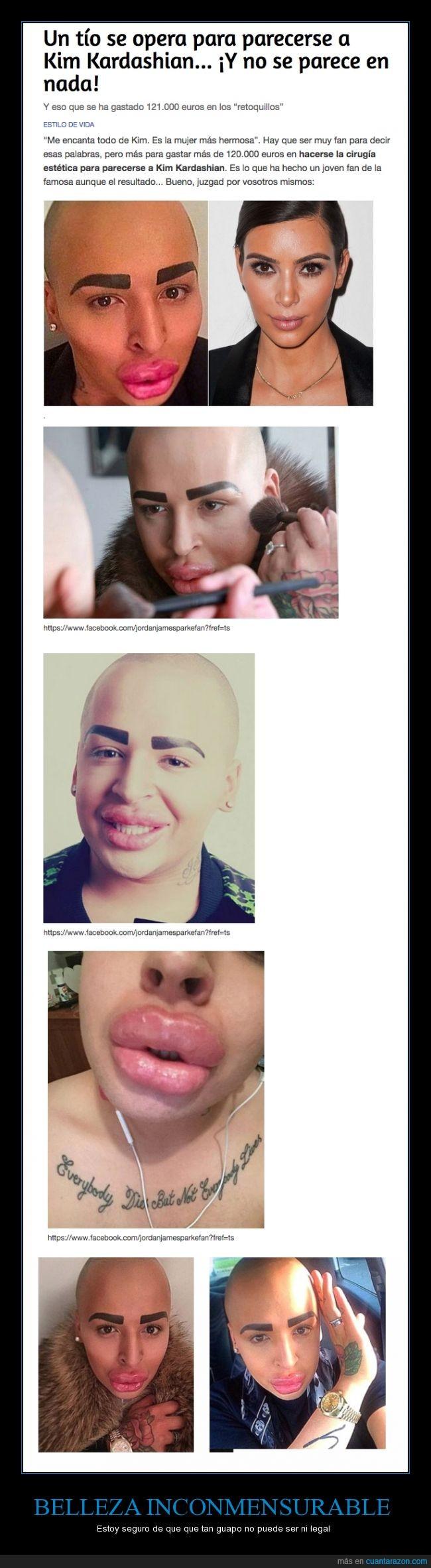 botox,cejas,chico,feo,guapo,Jordan James Parke,Kim Kardashian,labios,maquillador