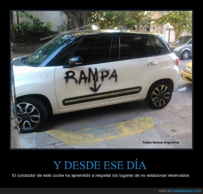 aparcar,coche,escribir,escrito,graffiti,no estacionar,puerta,rampa,spray,venganza