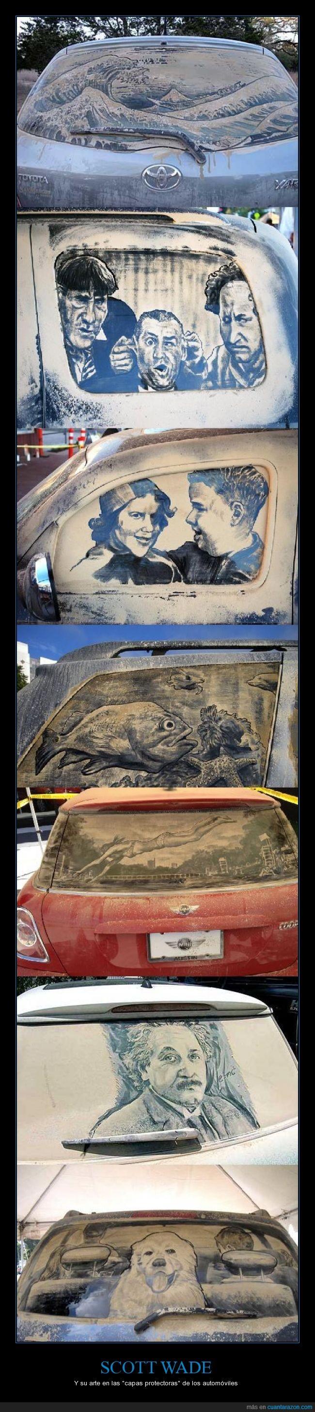 arte,artista,automóviles,capa protectora,mucho tiempo libre,parabrisas,polvo,scott wade
