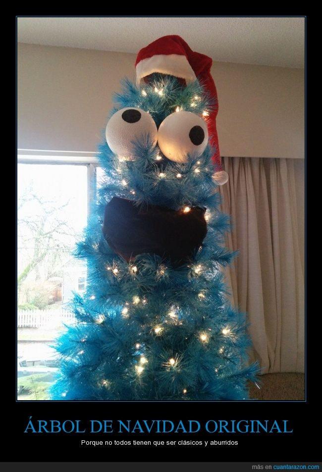 arbol,azul,cookie monster,monstruo de las galletas,navidad,triki