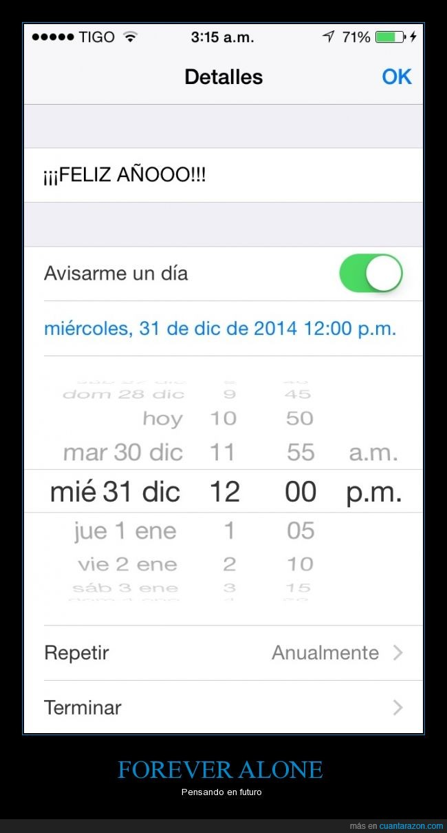 campanadas,Feliz año,forever alone,iOS,Navidad,recordatorio,solitario,solo