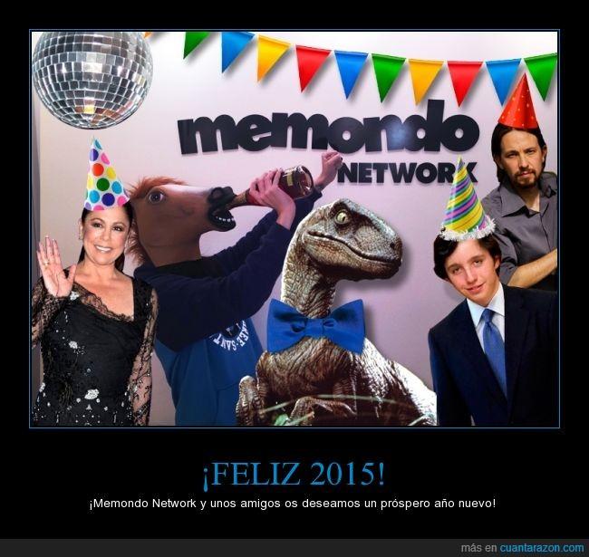 2015,celebración,Felicitación,fiesta,horsehead,Memondo,Pablo Iglesias,Pantoja,Pequeño Nicolás,velociraptor