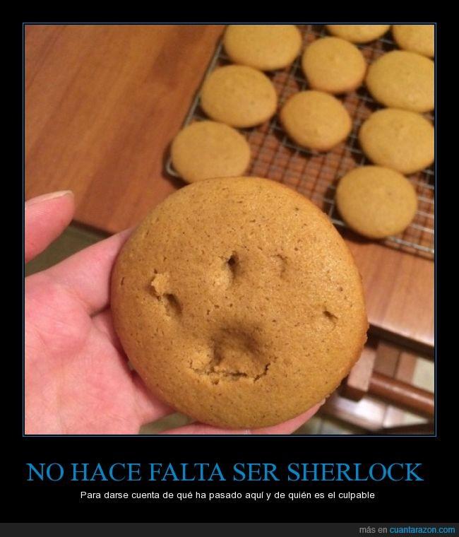 bollito,comida,culpable,galleta,gato,horno,huella,pata,sacar,Sherlock Holmes