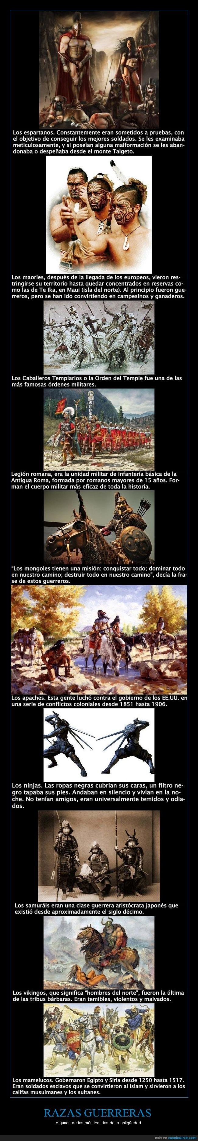 antigüedad,Caballeros templarios,casta guerrera,culturas guerreras,ejércitos,Legión romana,Los apaches,Los espartanos,Los guerreros maoríes,Los mongoles,Los samurais,Ninjas,razas guerreras,temidas