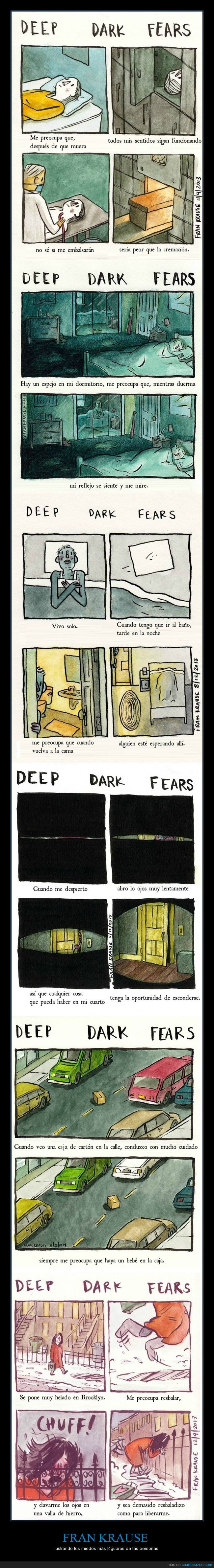 accidentes,Frank Krause,ilustraciones,miedo,miedos profundos,monstruos,traumas,¡mi miedo es que algo me agarre el pie bajo la cama!