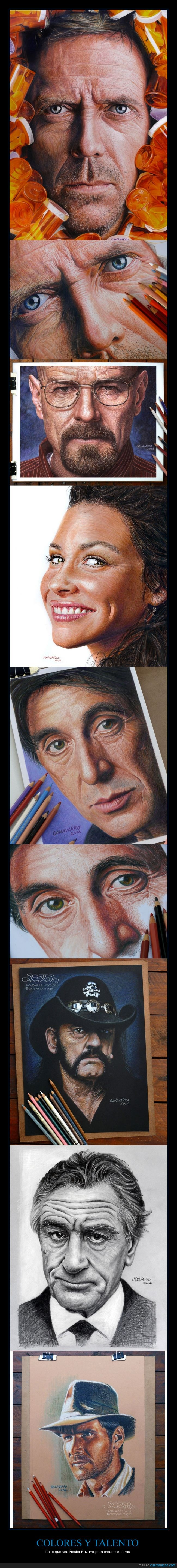 Al Pacino,Evangeline Lily,hiperrealismo,hiperrealista,Hugh LAurie,Indiana Jones,Nestor Navarro,Robert deniro