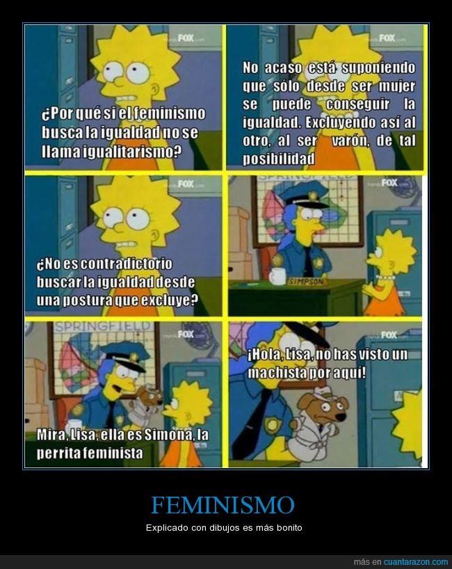 detective,feminismo,igualitarismo,lisa,machista,marge,perra,perro,policia,simpson