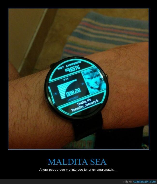 hora,inteligente,metal gear solid,mgs,mola,pulso,reloj,smartsatch,snake