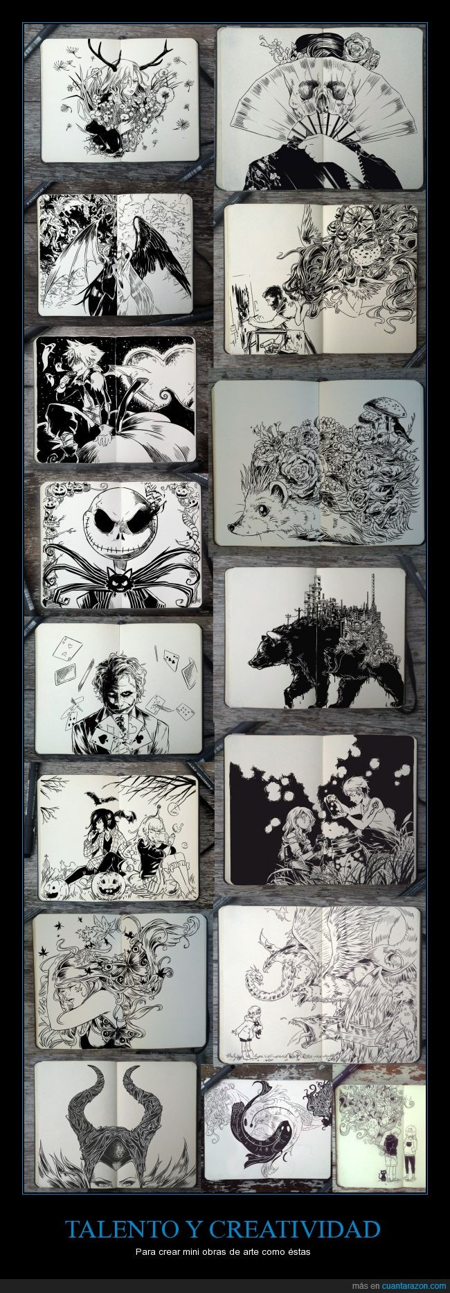 dibujo,joker,libreta,malefica,moleskine,negro,puntafina,tinta