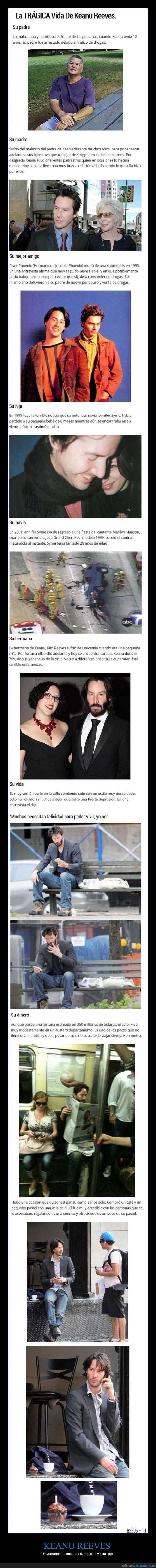 actor,depresión,es el Mujica de Hollywood,familia,humilde,Keanu Reeves,surte,vida,vida dura