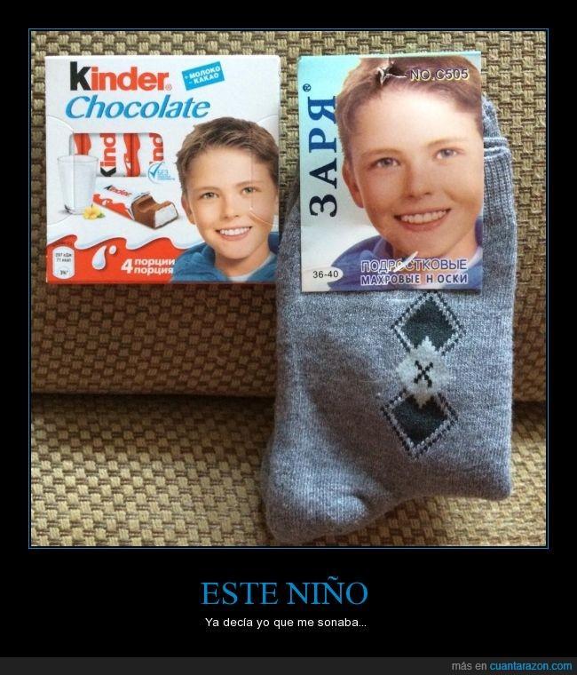 alemania,calcetines,cara,chocolate,foto,Kinder,mismo,modelo,niño,reciclar