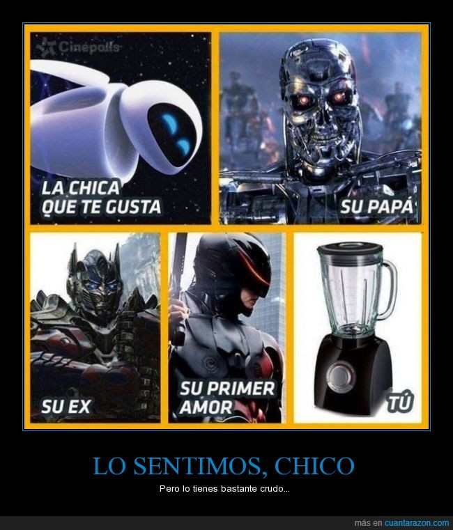 batidora,bonita,chica,cutre,Eva,ex,mona,oportunidad,optimus prime,padre,primer amor,Robocop,robot,Terminator,transformer,trituradora,tu