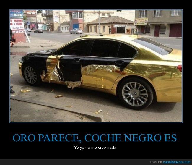 arabes,coche,dorada,dorado,engaño,forro,mentira,oro,oropel,papel,pegatina