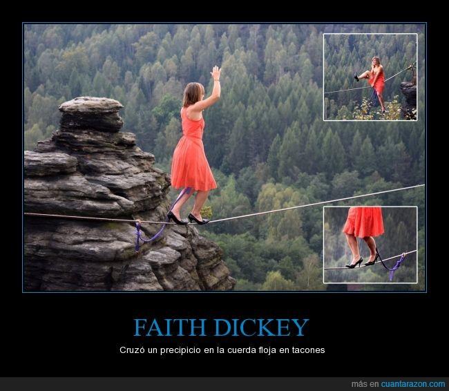 altura,cuerda floja,equilibrio,equilibrista,Faith Dickey,malabares,mujer,precipicio,proeza,riesgo,tacones