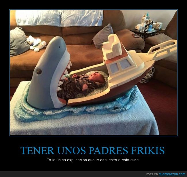 bebé,comer,cuna,hijo,humor,inovar,niño,padre,terror,tiburón,traumar