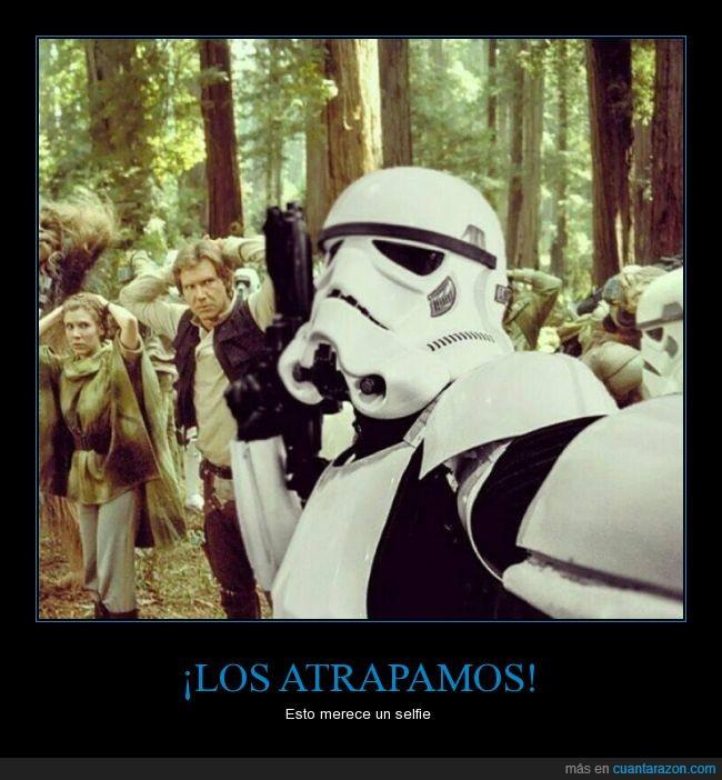 atrapados,Han Solo,pelicula,princesa Leia,selfie,Star Wars,Stormtrooper