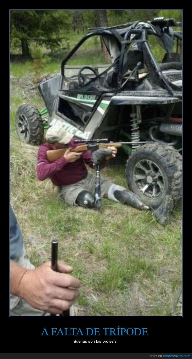 apuntar,caza,disparo,humor,pistola,prótesis,provecho,rifle,trípode