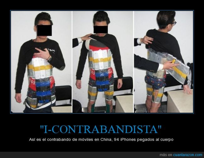 atado,celo,China,contrabando,cuerpo,Hong kong,iphone,policia