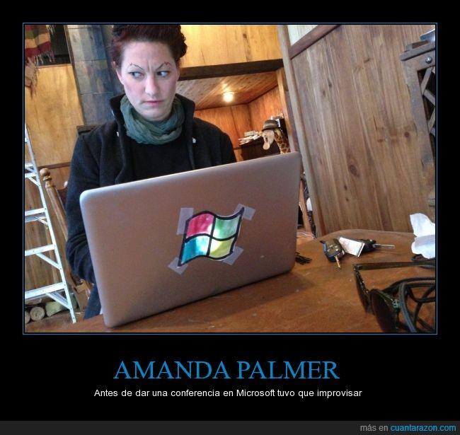 Amanda Palmer,conferencia,mac,marca,Microsoft,pegatina,portatil,tapar,verguenza,windows