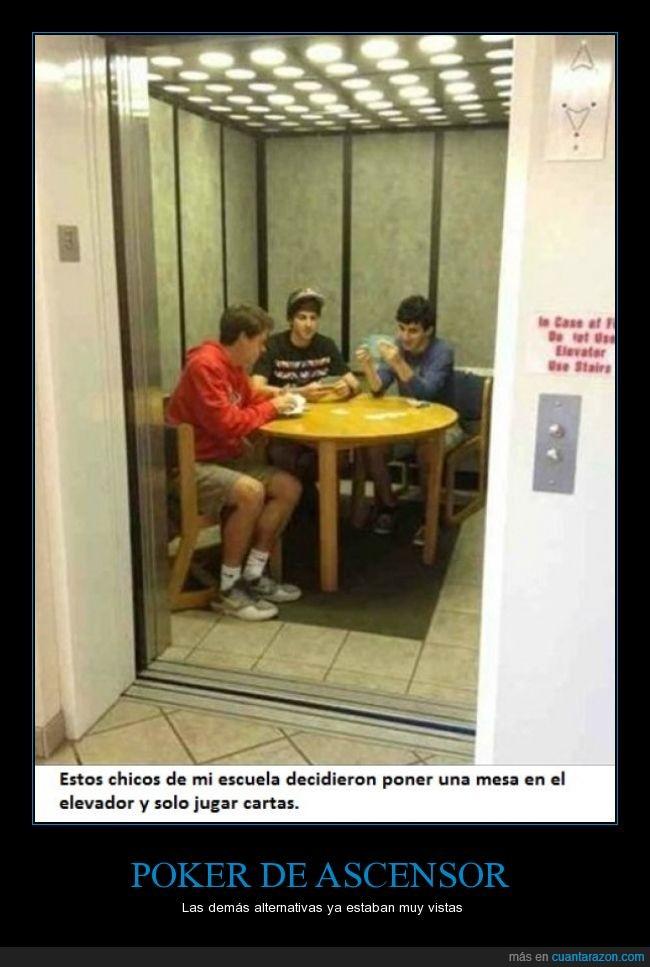 ascensor,cartas,elevador,estudiante,jugar,mesa,piso a piso,poker,timba