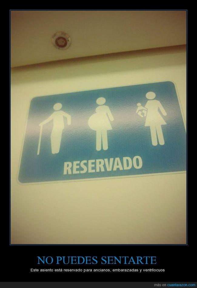 anciano,asiento,autobus,bebe,embarazada,mujer,muñeco,niño,preferente,sentar,ventrilocuo