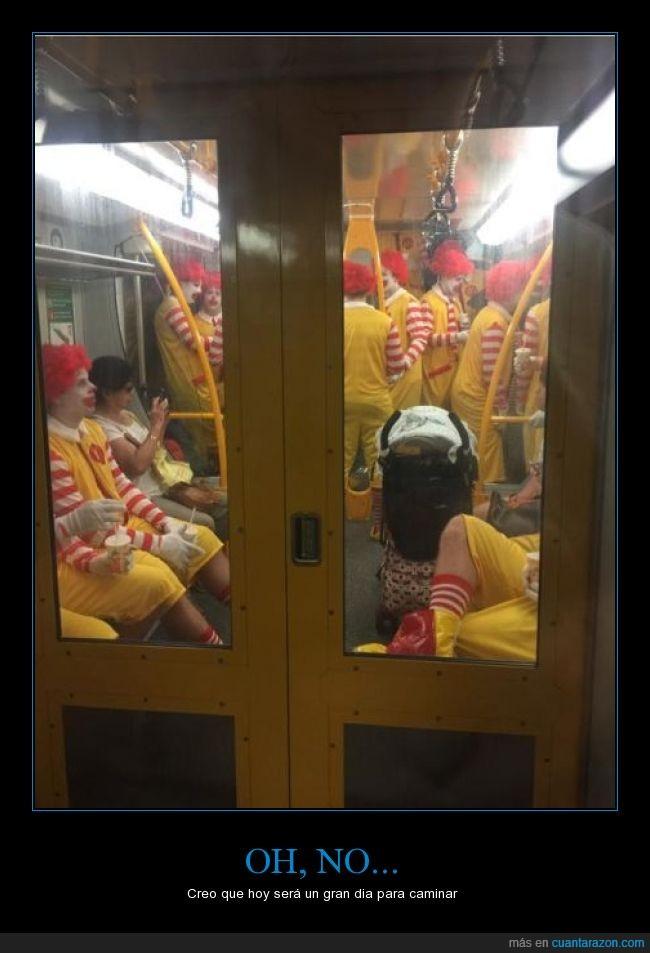 metro,payaso,payasos,Ronald McDonald,terror en el metro,transporte,van a crear un nuevo sabor de carne humana