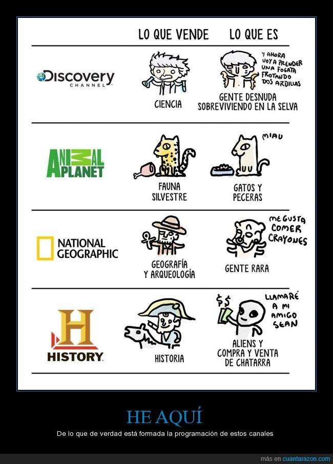 aliens,animal planet,compra ventas,discovery,gatos,gente rara,history,national geographic,tabu