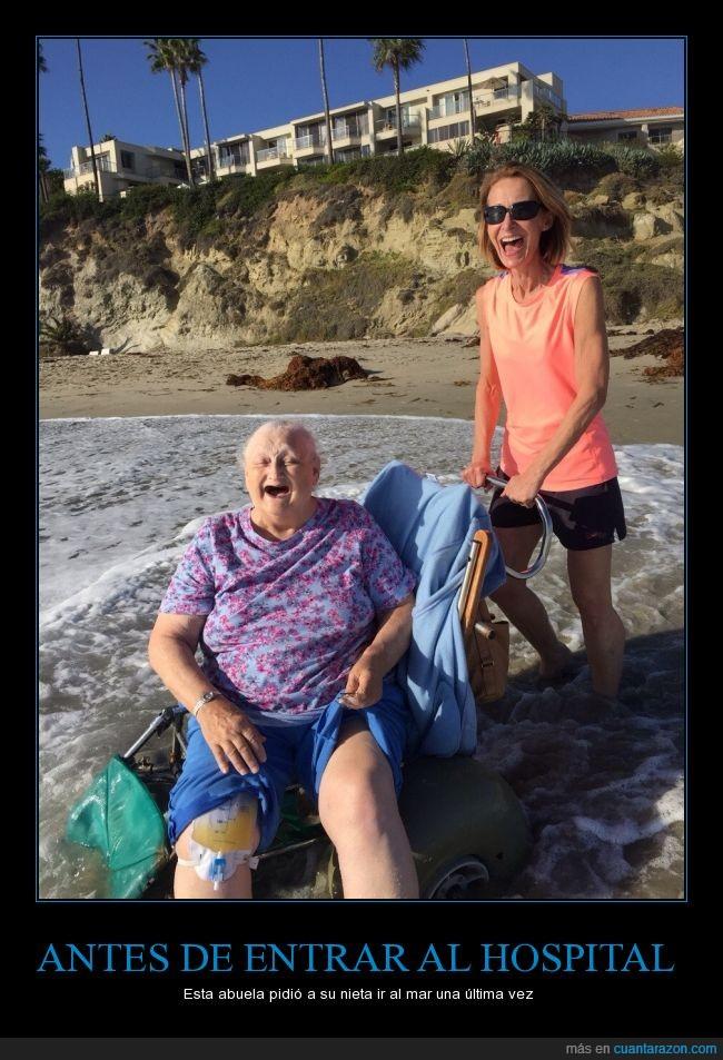 abuela,alegria,hospital,mar,muerte,nieta,terminal
