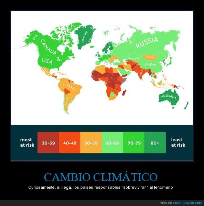cambio climatico,color,deshielo,grafica,paises,peligro,responsables,riesgo,salvar