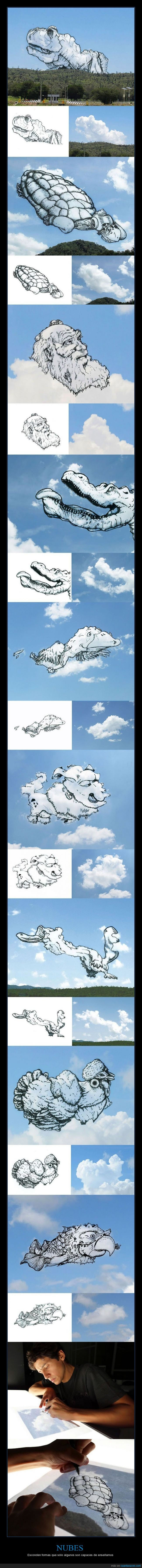 creatividad,dibujos,montadas,nubes,paisaje