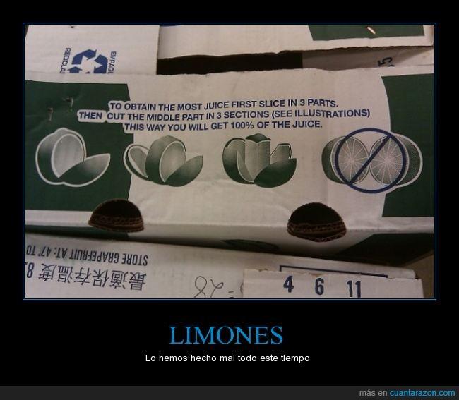 jugo,lima,limon,maximo,partes,partir,sacar,tres,zumo