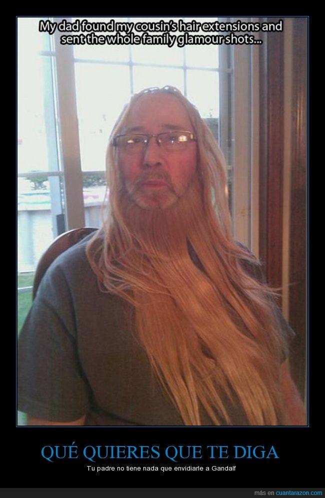 barba,El Señor de los anillos,esdla,extensiones,Gandalf,padre,pelo,prima,Saruman,tlotr