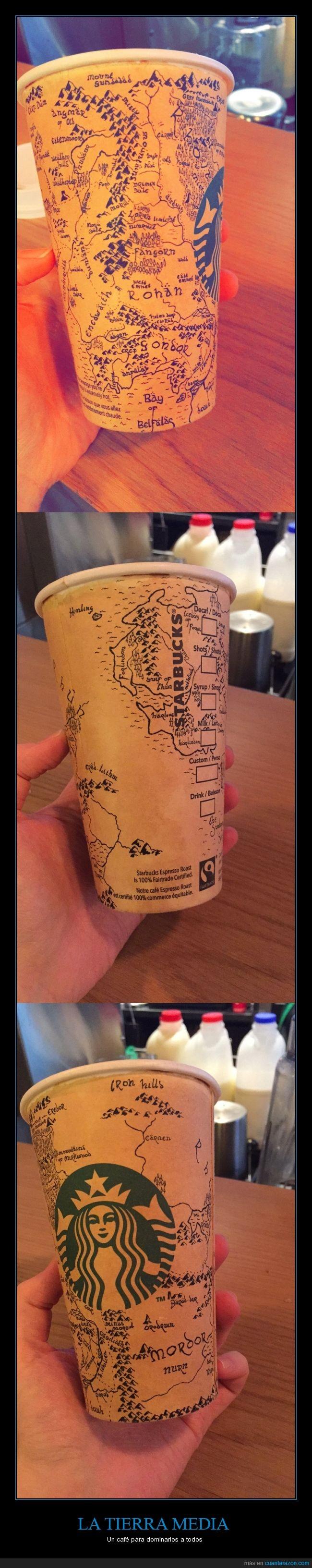 arte,café,detalle,dibujo,mapa,Starbucks,Tierra Media,vaso