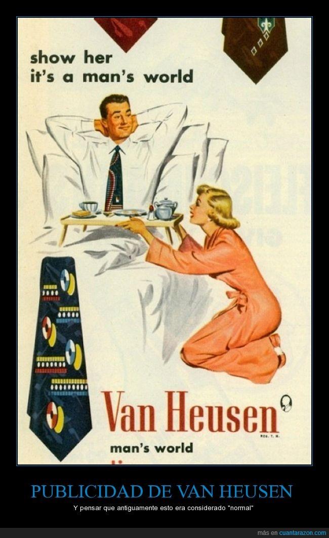 camisa,hombre,machismo,mujer,mundo,publicidad,ropa,Van Heusen