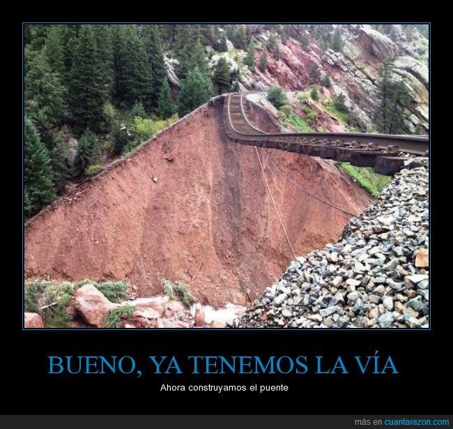 accidente,derrumbe,deslave,ferrocarril,intacta,mantener,puente,vía