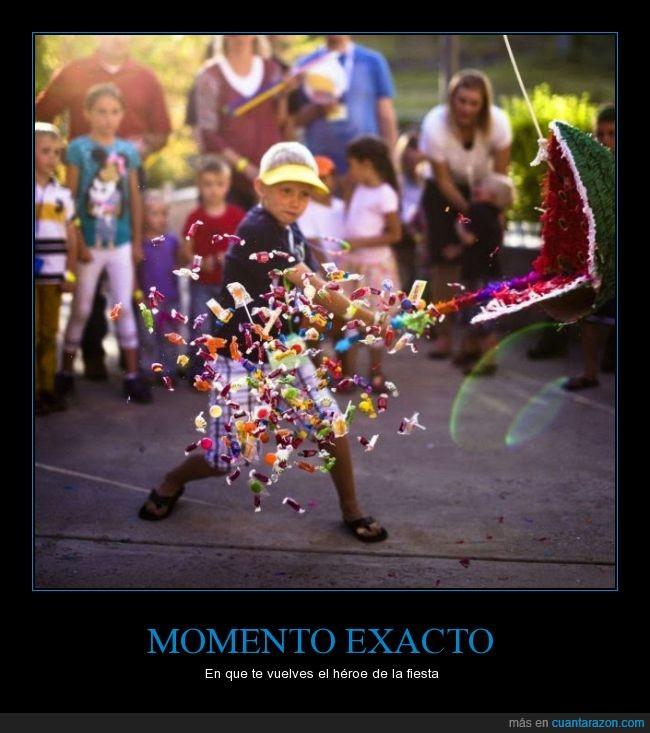 bate,dulces,fiesta,golpe,logro conseguido,momento,niño,piñata,romper,trancazo