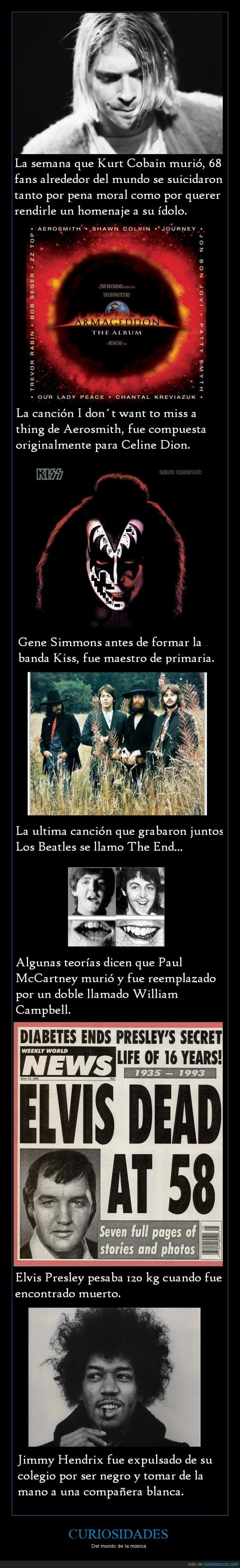 Aerosmith,armaggedon celine dion,curiosidad,Elvis,Jimi Hendrix,kiss,Kurt Cobain,the beatles,the end
