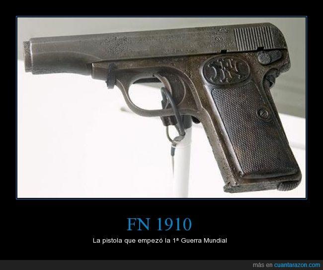 Archiduque Francisco Fernando de Austria,arma,atentado de Sarajevo,FN 1910,Franz Ferdinand,Le hicieron pium pium y muerto,museo,pistola