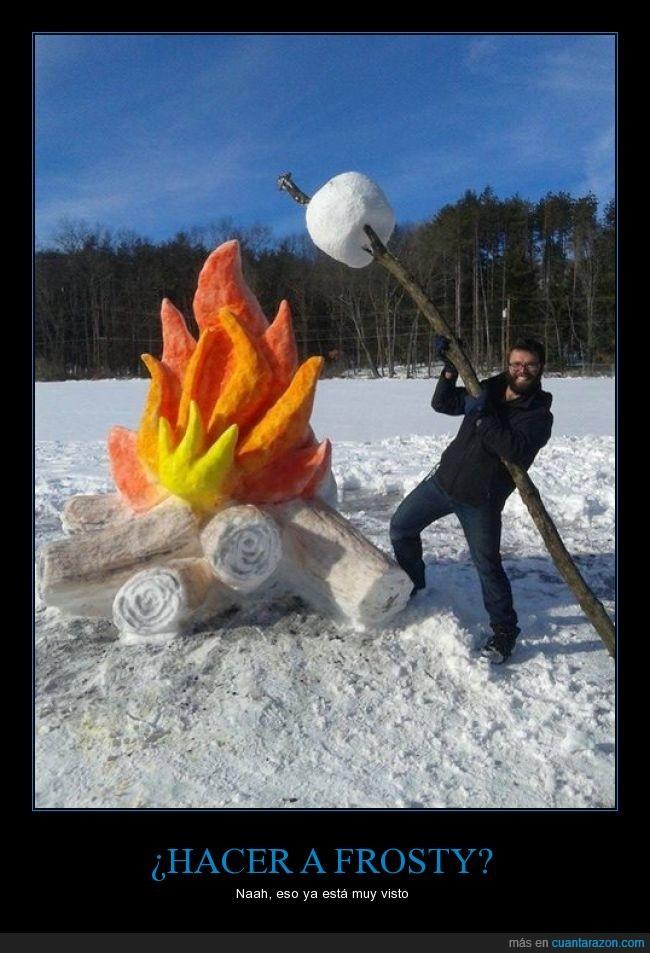 arte,curia,fogata,frío,fuego,hielo,malvavisco,nieve