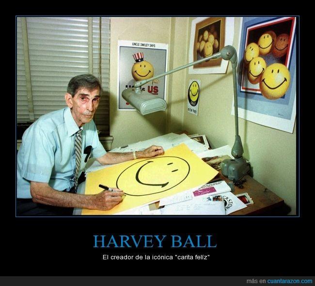 60's,amarillo,cara,carita feliz,el icono más conocido de todos los tiempos,feliz,harvey ball,icono