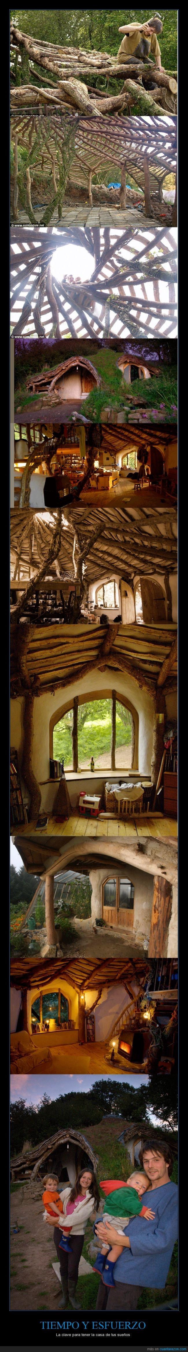 bonita casa,construcción,construir,esfuerzo,familia,Hobbit,naturaleza,tiempo,vender
