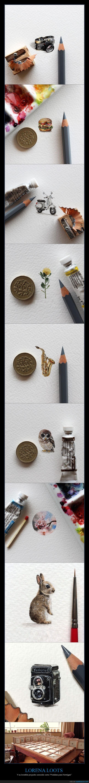 arte,Ciudad del Cabo,increible,lápices,Lorena Loots,miniaturas,moneda,pinceles,pintura en miniatura,Postales para Hormigas