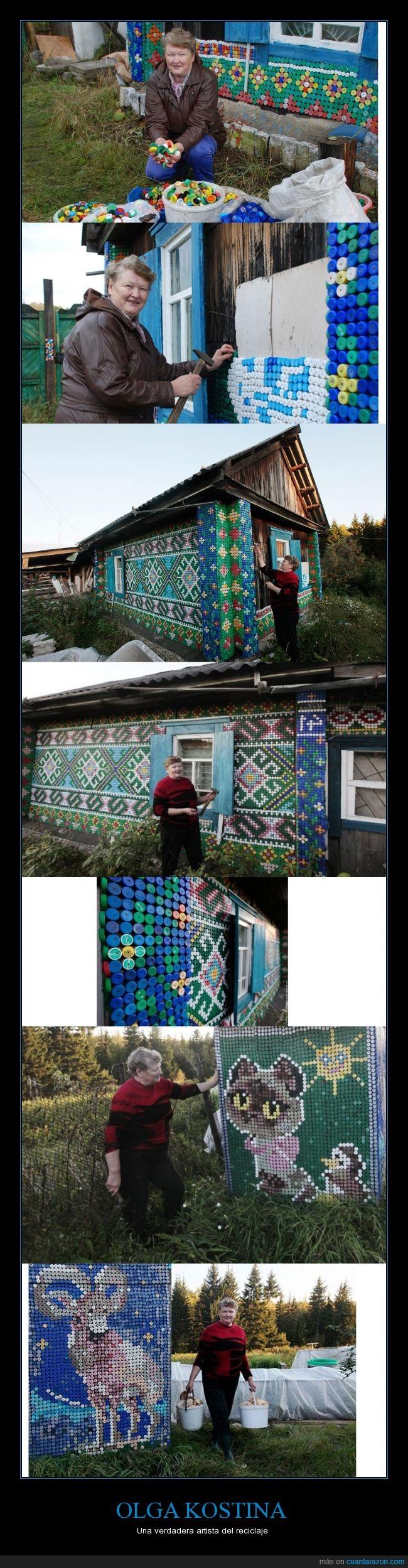 arte,casa,colores,crear,mosaico,Olga Kostina,pared,reciclaje,tapas de botella