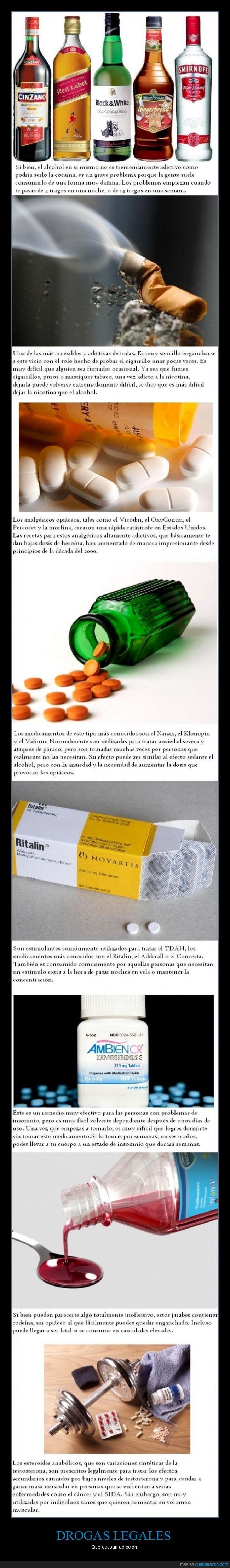 alcohol,codeina,droga,esteroides,fumar,jarabe,legal,opiaceo,tabaco,xanax