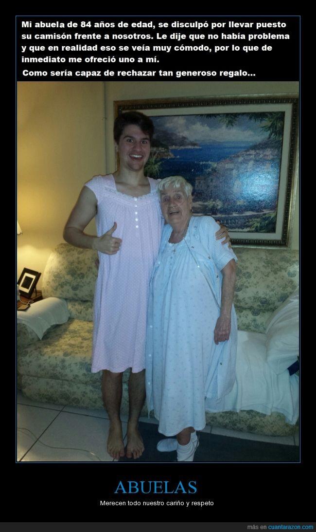 abuela,camison,cariño,chico,comodo,nieto,señora,visitar
